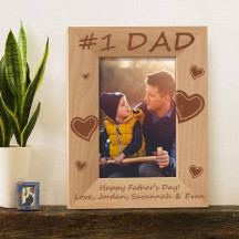 "Personalized Happy Fathers' Day Wooden Picture Frame 4"" x 6"" Finished"