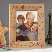 "Our Hearts Belong to Daddy Personalized Wooden Picture Frame 5"" x 7"" Finished"