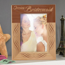 """Bridesmaid's Name Personalized Wooden Picture Frame 5"""" x 7"""" Finished"""