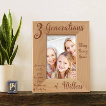 "3 Family Generations Personalized Picture Frame 3 1/2"" x 5"" Finished"