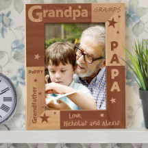 "Grandpa's Love Personalized Wooden Picture Frame 5"" x 7"" Finished"