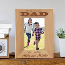 "World's Greatest Dad Personalized Wooden Picture Frame 4"" x 6"" Finished (Frames)"