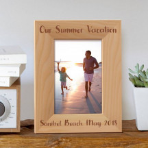 "Our Summer Vacation Personalized Wooden Picture Frame 4"" x 6"" Finished"