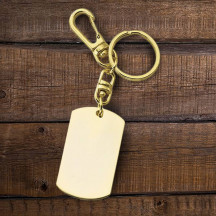 Personalized Gold Dog Tag Key Tag