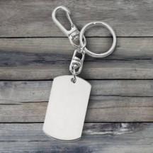 Personalized Silver Dog Tag Key Tag