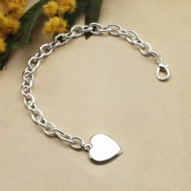 Personalized Sterling Silver Plated Braclet with Heart Pendant