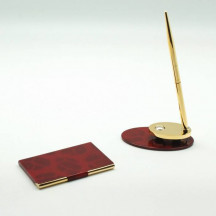Personalized Card Case, Memo Holder and Pen Gift Set