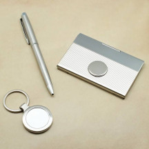 Personalized Card Case, Ball Point Pen, and Key Chain Gift Set