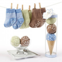 "Blue ""Sweet Feet"" Three Scoops of Socks Gift Set For Baby Boy"