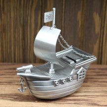 Personalized Decorative Easy Engraveble Pewter Pirate Ship Piggy Bank