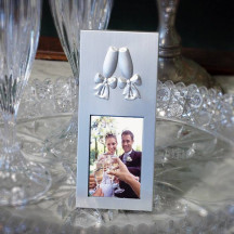 Personalized Lovely Silver Brushed Toasting Glasses Place Card Frame