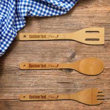 Beautiful Personalized Set of Bamboo Salad Spoon, Spork & Spatula