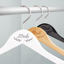Personalized Engraved Twig Detail Bride Wooden Wedding Hangers
