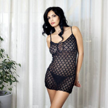 Lacy Black Mini Dress with Lace Up Front