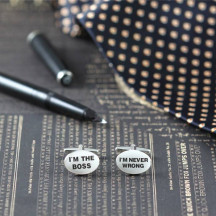 Oval Shaped Boss Never Wrong Phrase Engraved Novelty Cuff Links