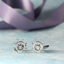 Beautiful Boat Steering Wheel Novelty Cufflinks Fun Gift Idea For Men