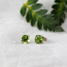 14K Gold Stud Earrings With Natural Peridots Beautiful Gift For Women