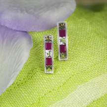 14K Solid Gold Earrings With Natural White Topaz & Rubies