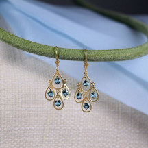 Gorgeous 14K Solid Gold Chandelier Earrings With Blue Topaz