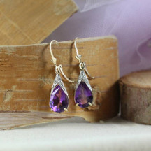 14K Gold Lever Back Earrings With Natural Amethyst Is a Perfect Gift