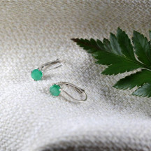 14k Solid Gold Lever Back Earrings With Beautiful Emeralds