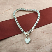 "7"" Large Box Chain with 11mm Heart Charm"