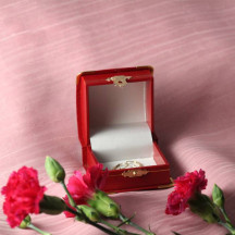 Elegant Gold Rimmed Red Leatherette Jewelry & keepsakes Boxes