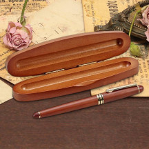 Personalized Oval Wooden Pen Box with Pen