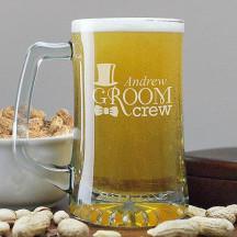 Engraved Groom Crew Glass Mug