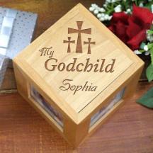 Engraved My Godchild Wood Photo Cube