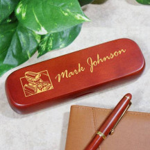 Personalized Hot Rod Engine Rosewood Pen Set