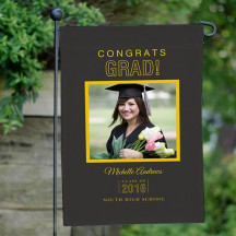Personalized Congrats Grad Photo Garden Flag