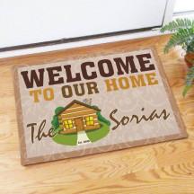 Log Cabin Welcome Doormat
