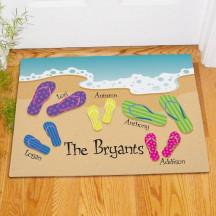 Personalized Flip Flop Family Welcome Doormat