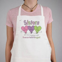 Hearts Strings Sisters Personalized Apron