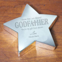 Engraved Godfather Silver Star Keepsake
