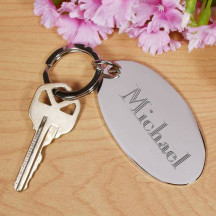 Personalized Silver Metal Oval Keychain Custom Name Quote Printed