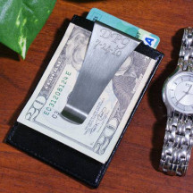 Engraved Leather Money Clip