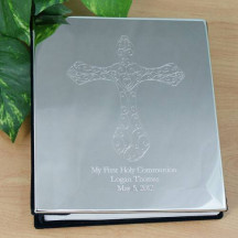 Engraved Cross Silver Photo Album