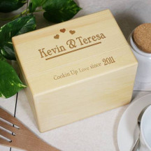 Engraved Cookin Up Love Recipe Box