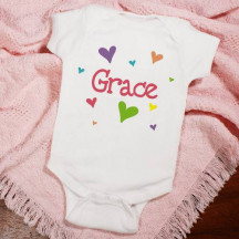 """New Baby """"She's All Heart"""" Personalized Infant Creeper"""