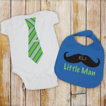 Personalized Little Man Bib and Creeper Set
