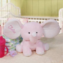 Embroidered Pink Plush Elephant