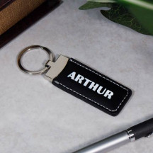 Personalized Black Leather Key Chain