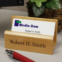 Personalized Wood Business Card Holder