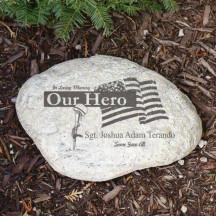 Engraved Military Memorial Garden Stone