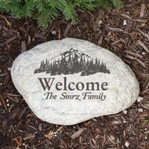 Engraved Woodland Garden Stone