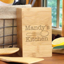 Engraved Kitchen Bamboo Utensil Holder