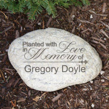 Engraved Planted With Love Memorial Garden Stone