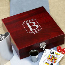 Rosewood Poker Flask Set